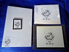 Kitten in Brandy Glass 4 Piece Set-Notepad, 6 Blank Notecards, Print, Magnet New