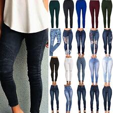 Womens Skinny Denim Pants Jeggings Stretch High Waist Jeans Pencil Trousers Plus