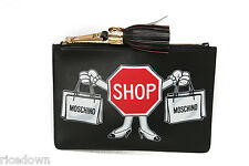 NEW $525 Moschino Graphic Logo Leather Clutch Sign Black Authentic Jeremy 2016