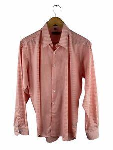Geoffrey Beene Button Up Shirt Mens Size L Orange Striped Long Sleeve Slim Fit