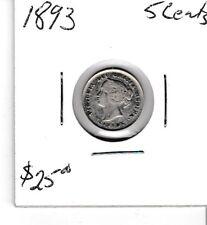 Canada 1893 5 cent silver nickel