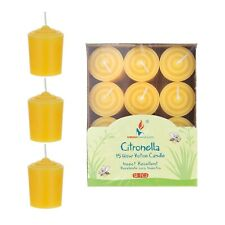 Mega Candles - 15 Hours Citronella Scented Votive Candles - Yellow, Set of 12