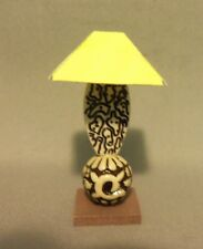 Dollhouse Miniature 1:12 Table Lamp #3 (Square Yellow Lamp Shade)