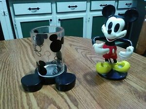 Vintage Disney Mickey Mouse - Toothbrush Holder & Matching Bathroom Cup!! RARE!!