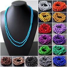 Kette 140cm lang Perlenkette Perlen rund 5mm Wickelkette Armband Mädchen VKX2