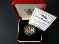 1996 UK ROYAL MINT SILVER PROOF PIEDFORT DOUBLE THICK £1 COIN CASED WITH COA.