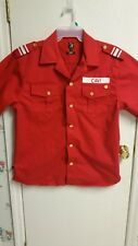 Cavi Red Military Style Short Sleeve Button Down Shirt Gold Brass Buttons Size L