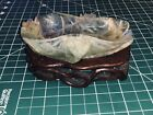 19th C. Antique Chinese Carved Stone Crystal Brush Wash Bowl W/ Wood Stand