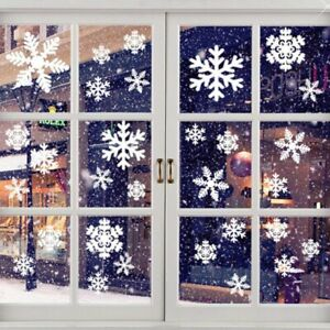 Reusable Christmas Window Snowflakes Stickers Clings Decal Decorations UK