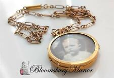 Antique Vintage Edwardian 9ct Rose Gold Picture Locket Pendant / Necklace 16inch