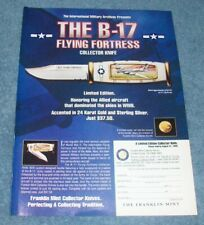 1999 Franklin Mint Collector Knives B-17 Flying Fortress Vintage Ad