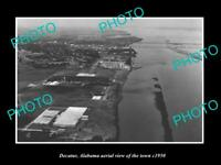 OLD POSTCARD SIZE PHOTO DECATUR ALABAMA AERIAL VIEW OF THE TOWN c1950