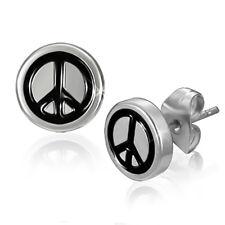 Boucles d'oreilles Zense homme acier symbole de paix fermeture papillon ZE0038