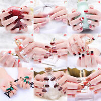 24 pcs/set  Fake Nails Art Tips Acrylic Nail False Full Cover Manicure_UK