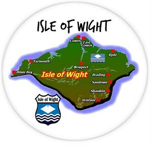 ISLE OF WIGHT - BIG SOUVENIR NOVELTY ROUND FRIDGE MAGNET - NEW - MAP / GIFTS