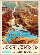 Bonnie Loch Lomond Scotland Vintage Great Britain Railroad Travel Poster Print