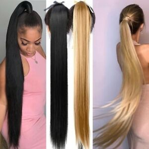 33'' Straight Long Clip In Tail Synthetic Hair Ponytail Hairpiece Pony Tail