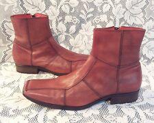 RARE 8 Mark Nason Vero Cuoio Brown Orange Leather Ankle Boots Made Italy 67056