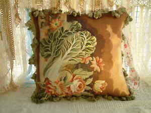"""18"""" Antique Chinese Cabbage Floral Decorative Embroidery Throw Pillow Cover"""