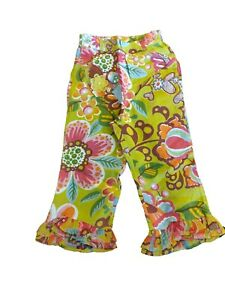 NEW OILILY Girls Linen Floral Pants Size 116 US 6
