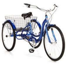 "26"" Adult Adjustable Tricycle Single Speed comfortable Blue 3-wheeler Basket NEW"