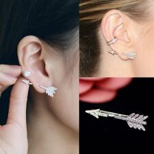 Simple Bow Arrow Crystal Ear Stud Women Fashion Silver Earrings Jewelry Gifts