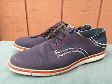 7 FOR ALL MANKIND ERN PIQUE MEN'S CANVAS SNEAKERS NAVY US Sz 12