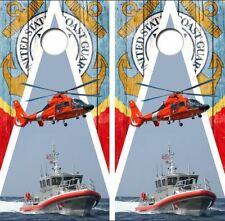 U.S. Coast Guard Barnwood Cornhole Board Wraps Free Lamination #3037