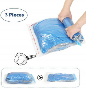 3x Strong Roll Up Vacuum Storage Space Saving Saver Bags 1(35*50cm) + 2(35*25cm)
