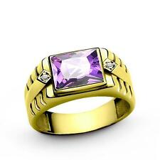 Mens Band Ring Solid 18k Yellow Gold Purple Amethyst Gemstone 2 DIAMOND Accents