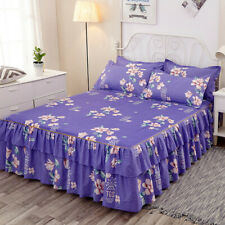Bedding Flower Print Single Layer Bed Skirt Flat Sheet Bedspread or Pillowcase