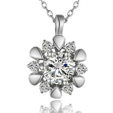 Flower Pendant Rolo Necklace Gemstone Platinum Plated Crystal Zircon