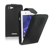 Schwarz Leder Flip Case für Sony Xperia E3 Experia-Vertikal Cover Etui