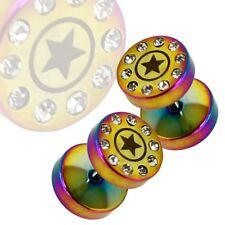 Fakeplugs Ohr Fakepiercing Stern Strass Kristall Rainbow Tunnel Plug Piercing