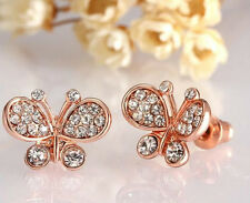 HIGH END ROSE GOLD PLATED AUSTRIAN CRYSTAL BUTTERFLY STUD EARRINGS