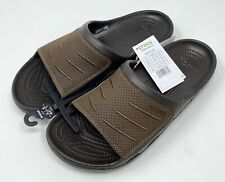 CROCS BOGOTA SLIDE SANDAL MENS SIZE 12 Espresso - LEATHER - Brand New