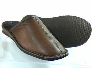 SHEEPSKIN SLIPPERS  MULE STYLE GENTS 100% GENUINE LEATHER UPPER AND INNER
