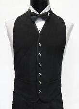 Mens Black 6 Silver Trimmed Button Front Openback Tuxedo Vest w Bow Tie Medium