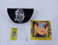 Ed Hardy Leather Eye Glass Sunglass Case Embroidered Skull & Roses With Cloth