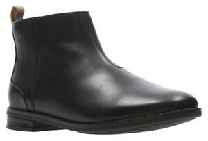 Clarks DREW MOON Girls Black Leather Zip Winter Boots 3 - 6 FG Fit NEW BOXED