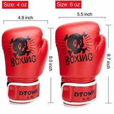 Dtown Girls Boxing Gloves 6oz PU Kids Boxing Gloves for Children Age 3 to 12 Red