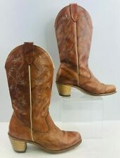 Ladies 80s Tan Stacked Heel Western Cowgirl Boots Size : 6.5 M