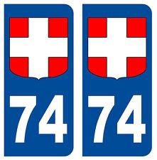 74 HAUTE-SAVOIE DEPARTEMENT IMMATRICULATION 2 X AUTOCOLLANTS STICKER AUTOS