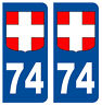 74 HAUTE-SAVOIE DEPARTEMENT IMMATRICULATION 2 X AUTOCOLLANTS STICKER AUTOS