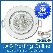 KIT 12V 9W (3x3W) CREE LED MR16 COOL WHITE DOWN LIGHT & WHITE GIMBAL HOUSING