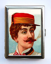 Victorian Man Women smoking Cigarette Case Wallet Business Card Holder mustache