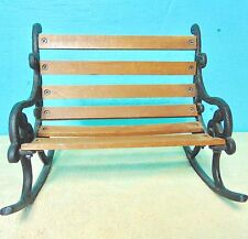 Rocking Chair Bench Doll Bear wood metal cherry finish display decoration