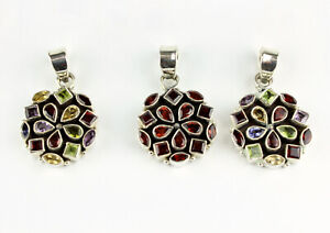 Garnet, Multi Color Pendant Real Gems 925 Silver Round Gift L 43 MM
