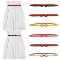 Women Waist Belt Narrow Stretch Dress Belt Thin Buckle Leather Elastic Waistband