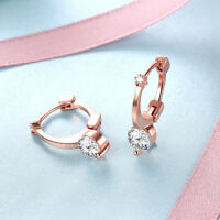 Rose Gold Plated White Gold Plated Cubic Zirconia Huggie Hoop Earrings